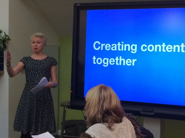 GDS' Sue Davis gives a presentation on pair writing. Picture courtesy of Persis Howe.
