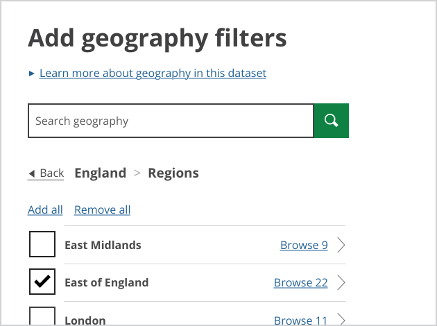 Screenshot: close up of geography search box