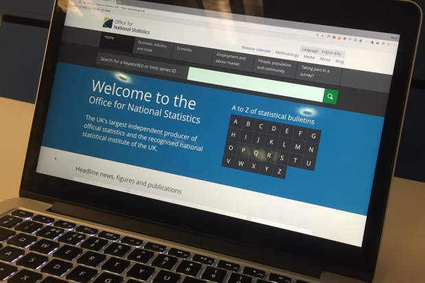 The ONS website on a laptop screen