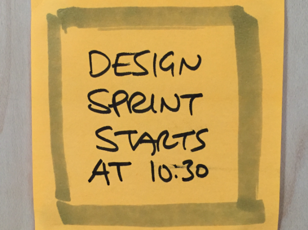 Post-it saying Design Sprint starts at 10:30