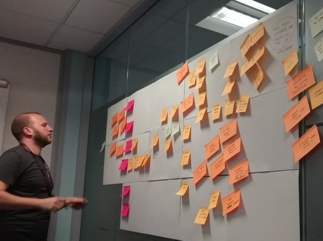 Benjy looking at the user journey we just mapped
