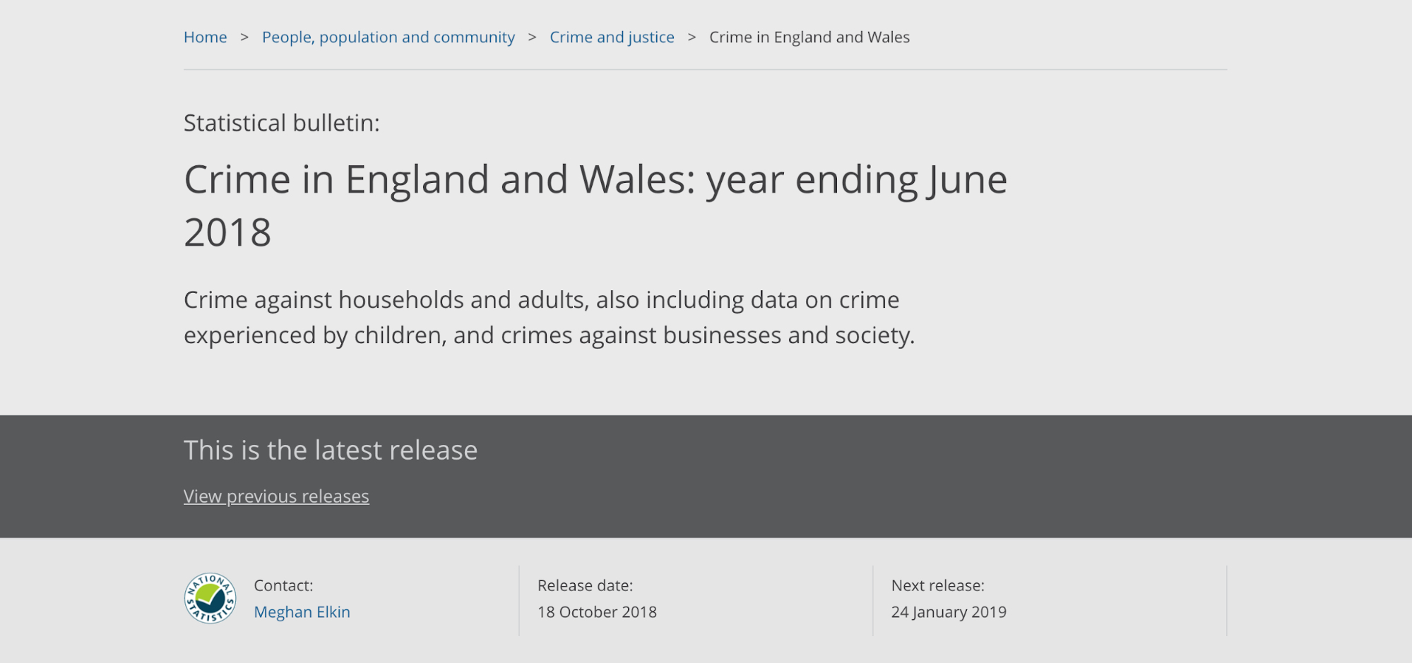 "header of a bulletin page on the ONS website. The main background colour is grey, A dark grey strip across the lower quarter of the page reads ""this is the latest release"""