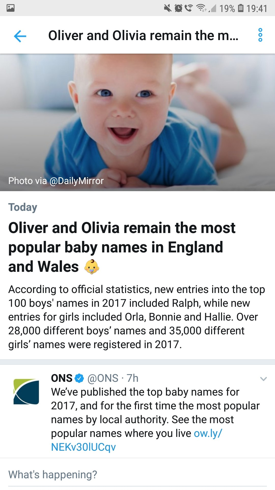 A screenshot of Twitter showing the baby name curated content