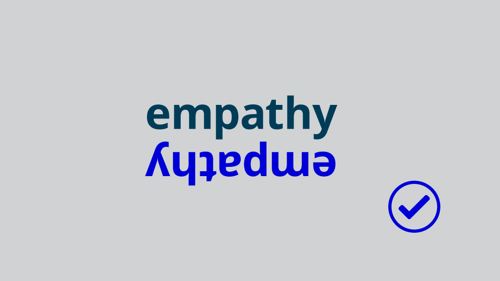 the word empathy with the word empathy upside down beneath it