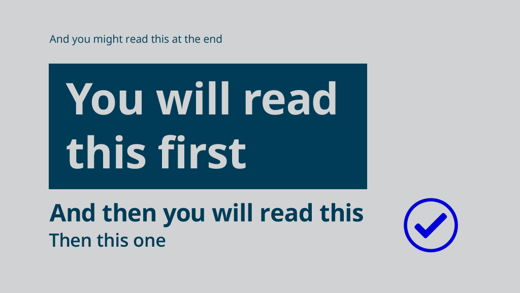 A demonstration of visual hierarchy, guiding the reader to read the text in this image in the correct order.